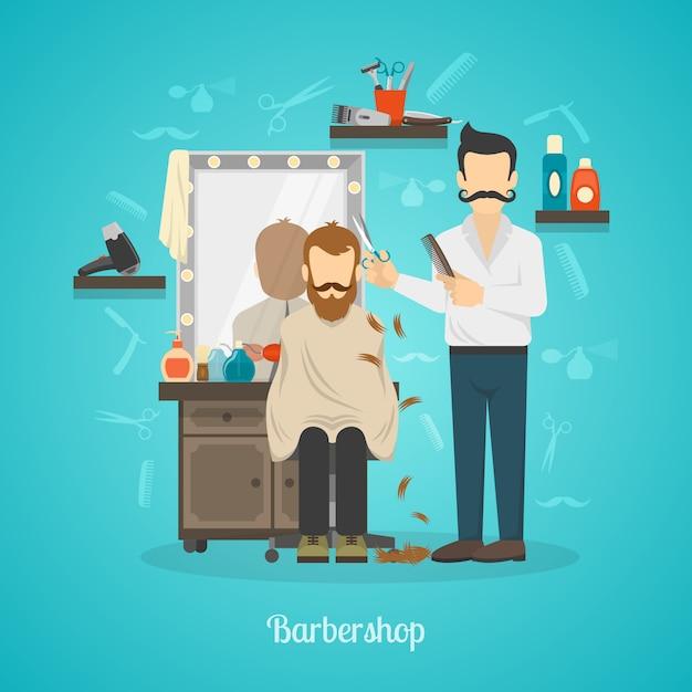 Ilustração de cor de loja de barbeiro Vetor grátis