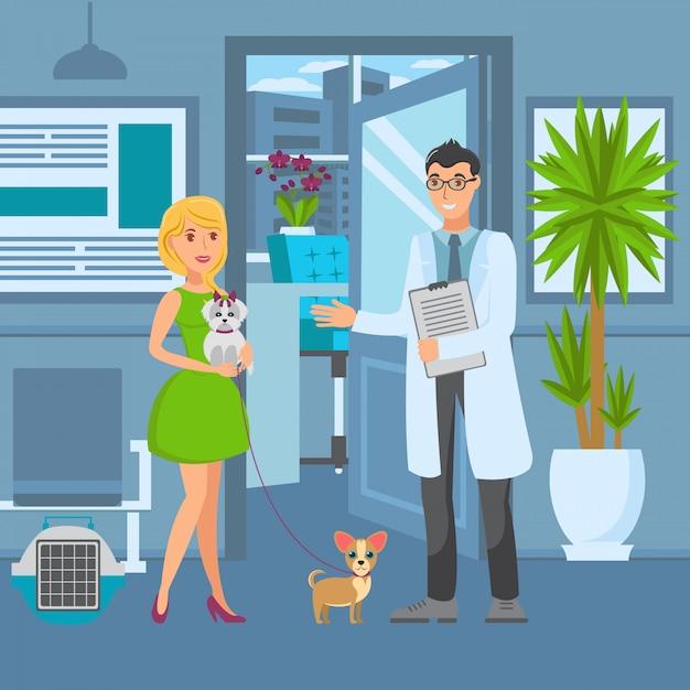 Ilustração de cor de vetor plana veterinária escritório Vetor Premium