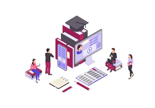 Ilustração de cor isométrica de educação on-line Vetor Premium