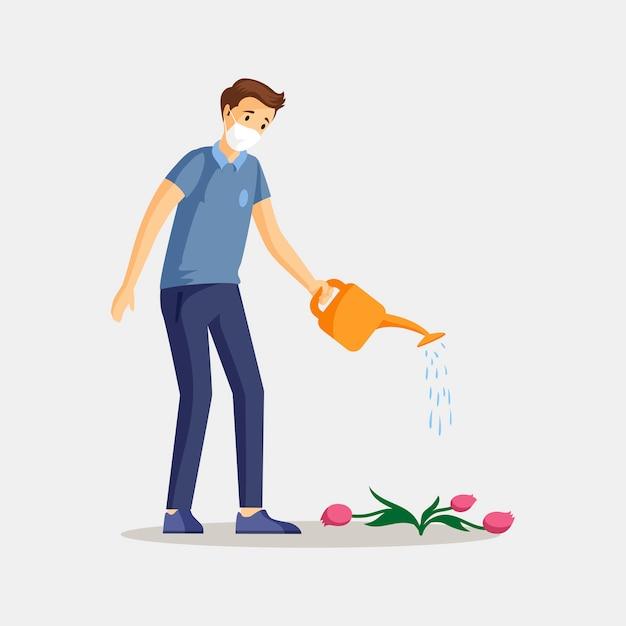 Ilustracao De Cor Lisa Da Planta Molhando Do Homem Cara Jovem