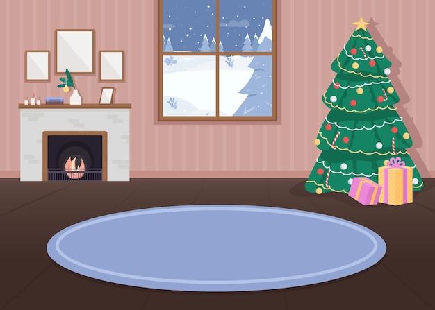 Ilustração de cor lisa de casa decorada de natal Vetor Premium