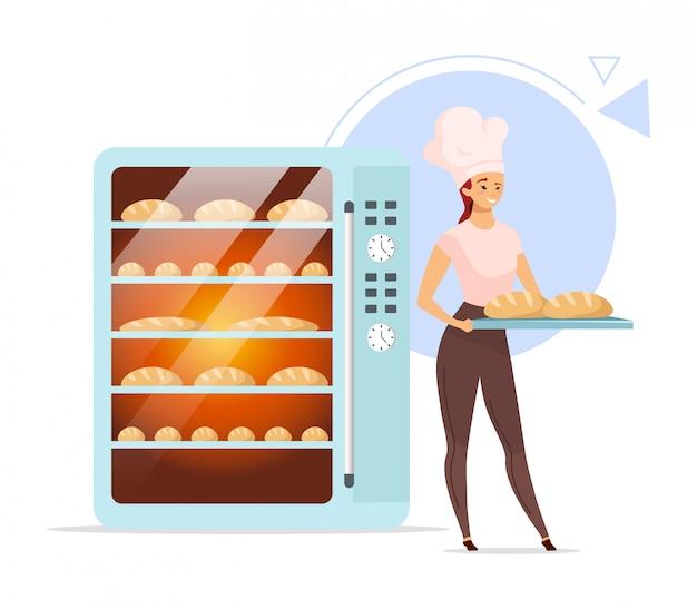 Ilustração de cor lisa de padaria. padeiro feminino ao lado do forno. produtos assados. Vetor Premium