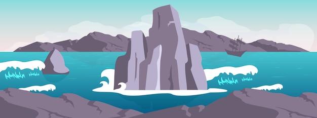 Ilustração de cor lisa de paisagem Vetor Premium
