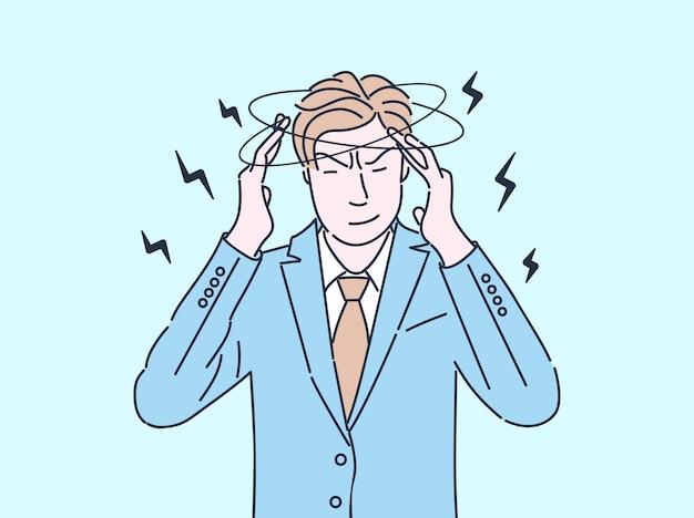Ilustração de cor lisa do homem de negócios cansado. homem se sentindo exausto e doentio, com dor de cabeça, tontura isolado personagem de desenho animado com contorno. empregado estressado e sobrecarregado de trabalho com enxaqueca Vetor Premium