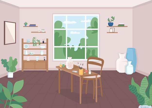 Ilustração de cor plana de sala de aula de cerâmica. lição de artesanato. workshop para artista. pinte cerâmicas para hobby. aula de arte. estúdio de artesanato 2d cartoon interior com janela no fundo Vetor Premium