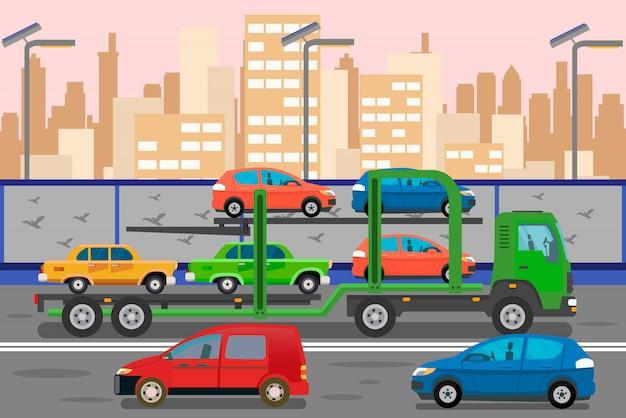 Ilustração de cor plana de serviço de transporte de carro Vetor Premium