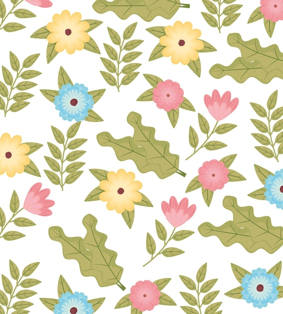 Ilustração de cores de flores e folhas de jardim padrão Vetor Premium