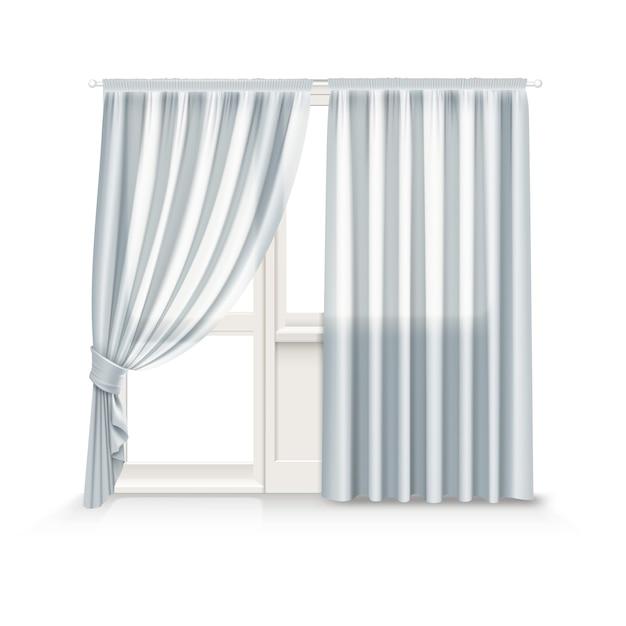 Ilustração de cortinas cinza penduradas na janela e na porta da varanda em fundo branco Vetor Premium