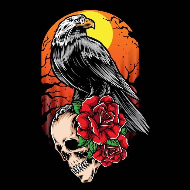 Ilustração de corvo e crânio Vetor Premium
