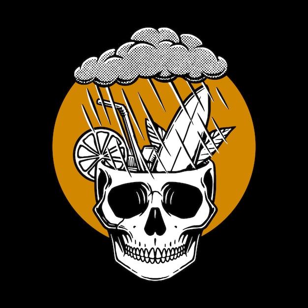 Ilustração de crânio chuvoso Vetor Premium