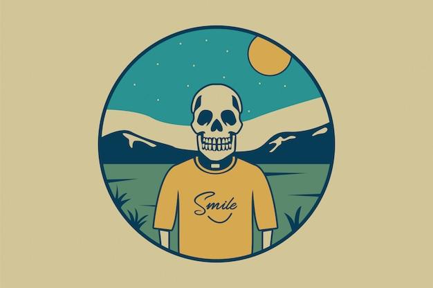 Ilustração de crânio com ypography de sorriso para impressão de t-shirt Vetor Premium