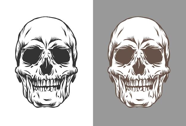 Ilustração de crânios humanos em estilo de gravura na cor preta e marrom Vetor Premium