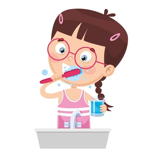 Ilustração de criança escovando os dentes Vetor Premium