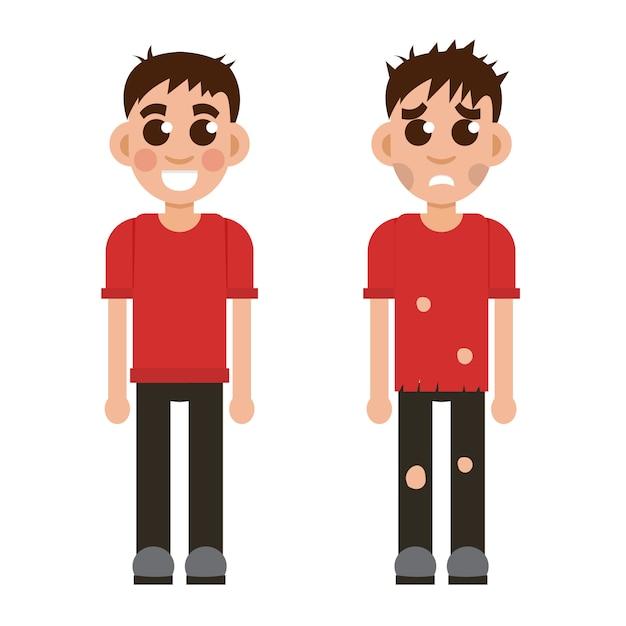 Ilustração de criança rica e pobre Vetor Premium