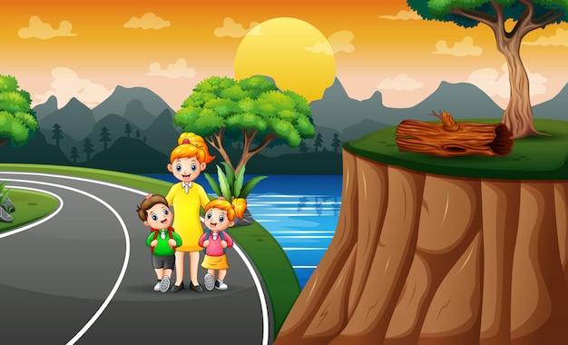Ilustração de crianças a pé para a escola Vetor Premium