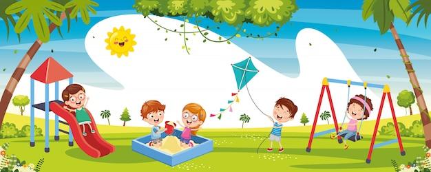Ilustração de crianças brincando lá fora Vetor Premium