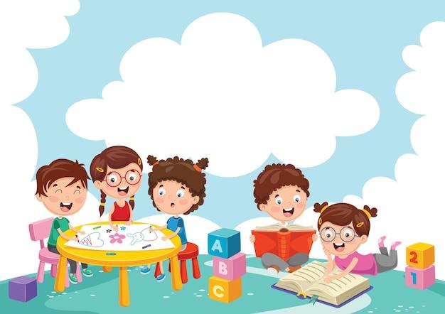 Ilustração de crianças brincando Vetor Premium