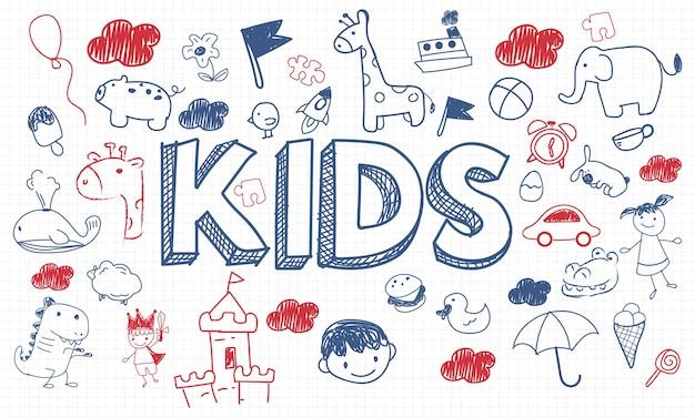 Ilustração, de, crianças, conceito Vetor grátis