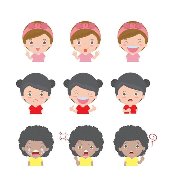 Ilustração de crianças de personagens de desenhos animados com emoções diferentes Vetor Premium