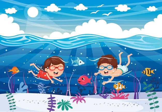 Ilustração de crianças de verão Vetor Premium