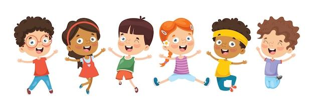 Ilustração de crianças dos desenhos animados Vetor Premium