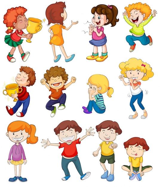 Ilustração de crianças em poses vencedoras e animadoras Vetor grátis