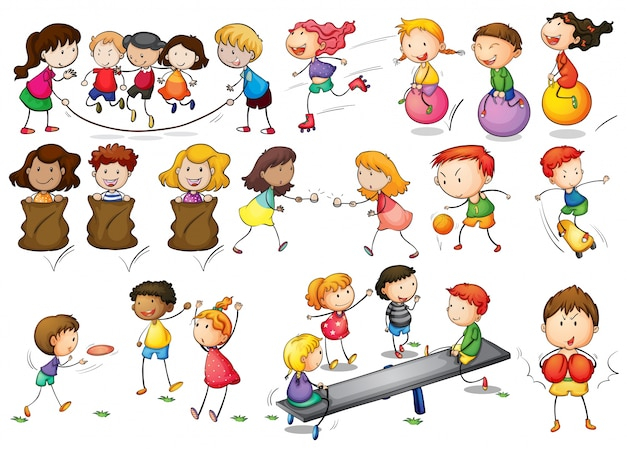 Ilustração de crianças que brincam e fazem atividades ...