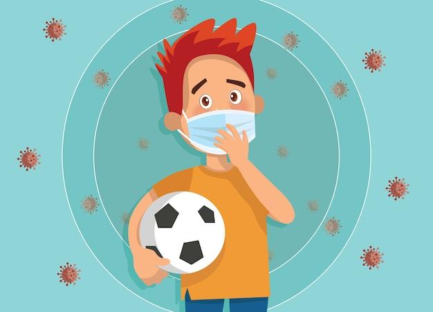 Ilustração de crianças usam uma máscara facial médica Vetor Premium