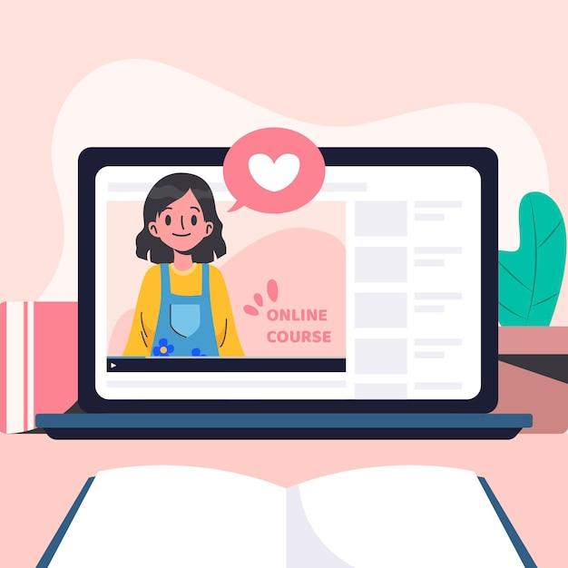 Ilustração de cursos on-line de design plano Vetor Premium