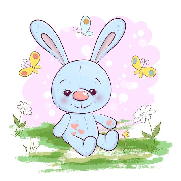 Ilustração, de, cute, pequeno, lebre, flores, e, borboletas Vetor Premium