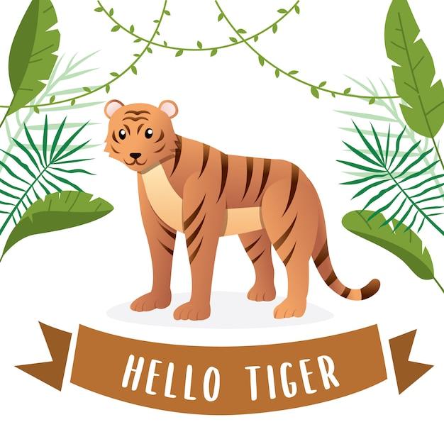 Ilustração, de, cute, tigre Vetor Premium