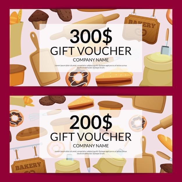 Ilustração de desconto ou presente de padaria dos desenhos animados Vetor Premium
