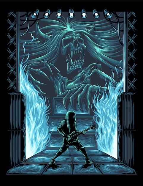 Ilustração de desempenho do guitarrista Vetor Premium