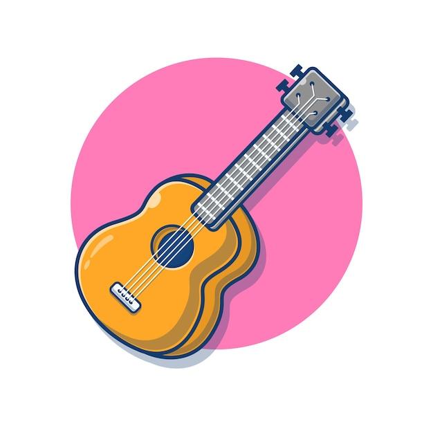 Ilustração de desenho animado com guitarra acústica Vetor Premium