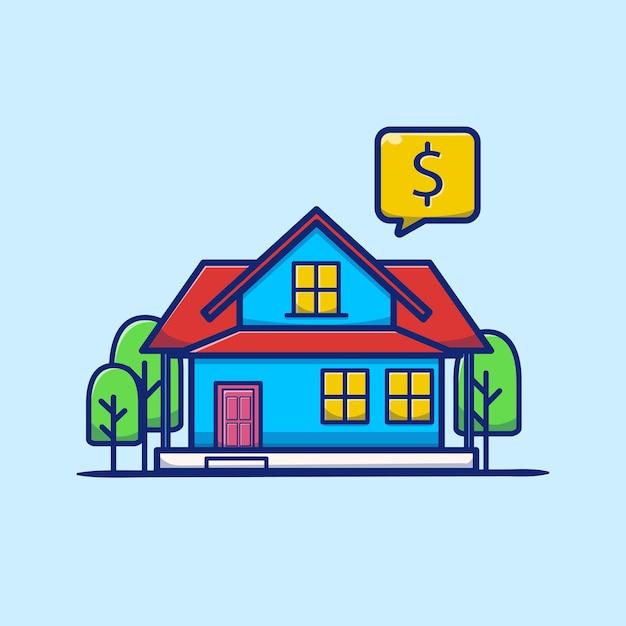 Ilustração de desenho animado de casa para alugar e vender Vetor grátis