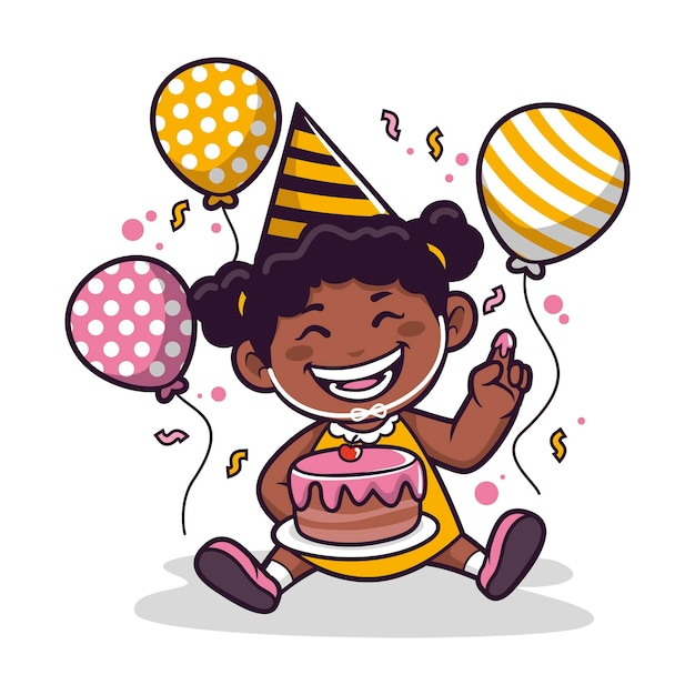 Ilustração de desenho animado de garota negra Vetor grátis
