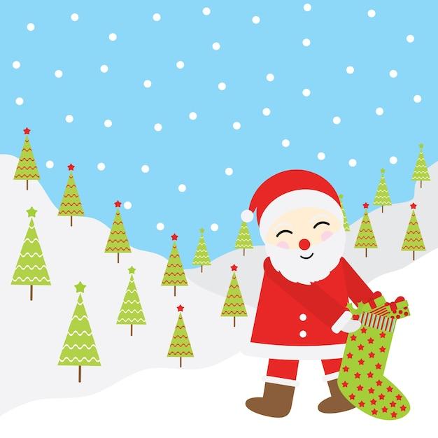 Ilustração De Desenho Animado De Natal Papai Noel Traz