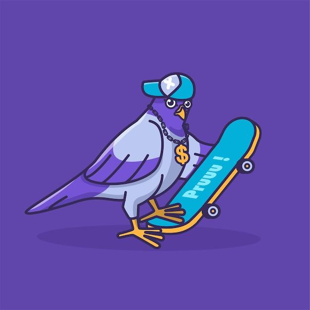 Ilustração de desenho animado de pombo e skate de estilo livre Vetor Premium