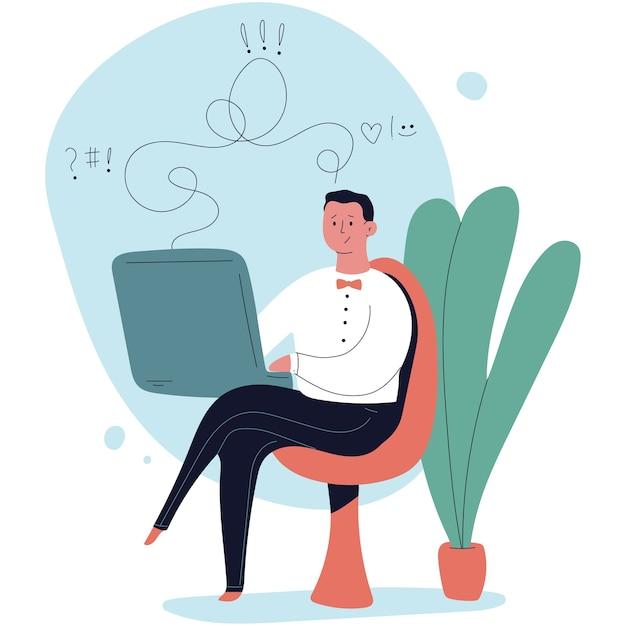Ilustração de desenho animado de psicólogo online Vetor Premium