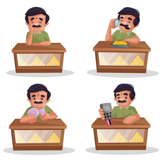 Ilustração de desenho animado do conjunto de caracteres de confeiteiro Vetor Premium
