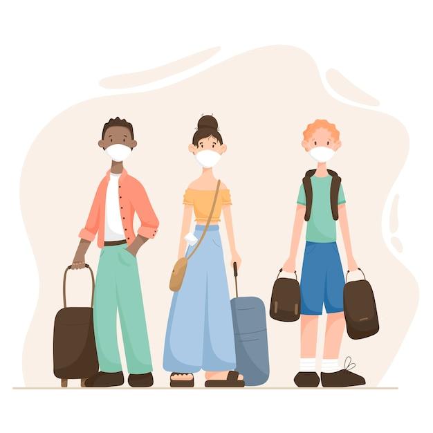 Ilustração de desenho animado moderno pessoas homem e mulher Vetor Premium