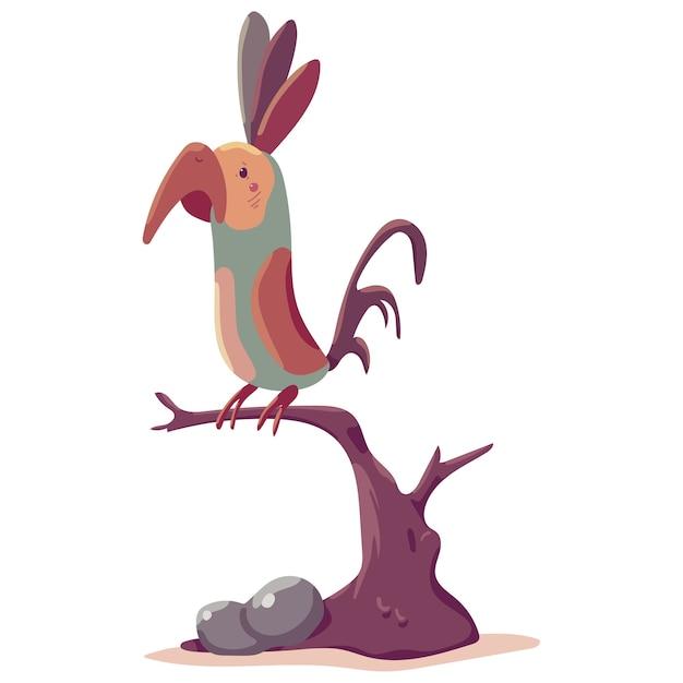 Ilustração de desenho animado papagaio em um galho Vetor Premium