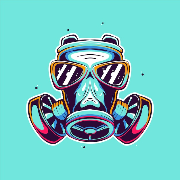 Ilustração de desenho de máscara facial de gás Vetor Premium