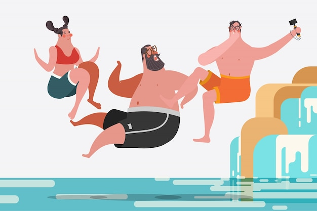 Ilustração de desenho de personagem de desenho animado. adolescentes e meninas que pulam cachoeiras Vetor grátis