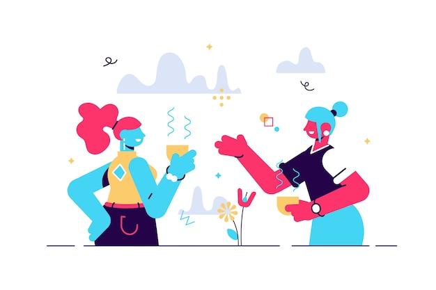 Ilustração de desenho vetorial de comunicação positiva de duas mulheres jovens e rindo de histórias engraçadas durante o intervalo na universidade. amigos alegres se divertindo Vetor Premium