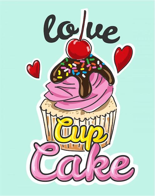 Ilustração de desenhos animados de bolo de copo pastel Vetor Premium