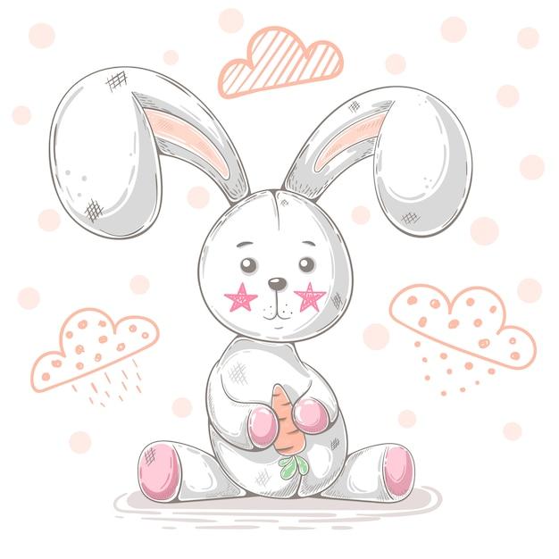 Ilustração de desenhos animados de coelho de pelúcia fofo Vetor Premium