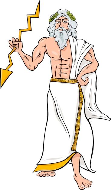 Ilustracao De Desenhos Animados De Deus Zeus Grego Vetor Premium