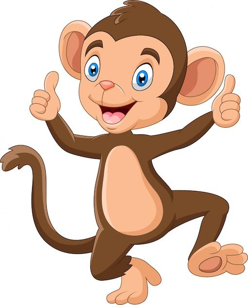 Ilustracao De Desenhos Animados De Macaco Bebe Fofo Vetor Premium
