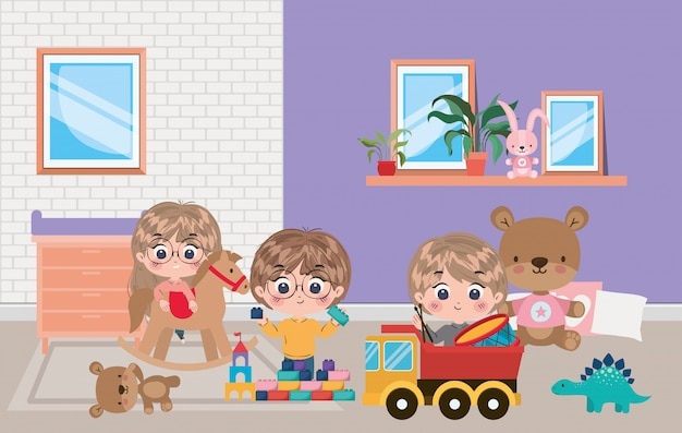 Ilustração de desenhos animados de menina e meninos Vetor Premium